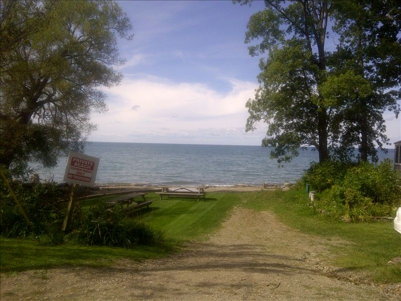 Dirt path entrance to a Lake Erie Beach