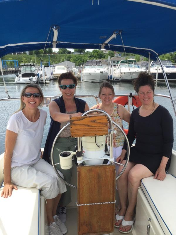 ladies on sail boat